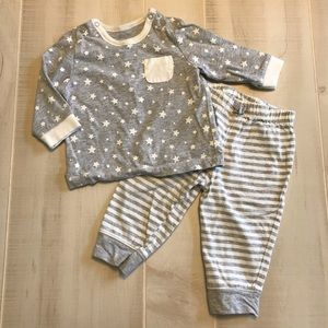 Little Me Baby Boys Gray Stars Stripes Outfit 6M